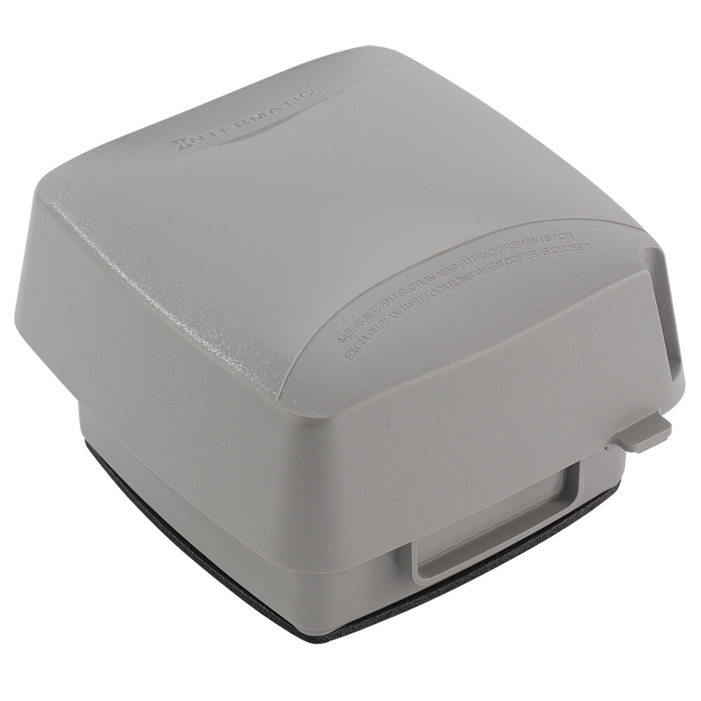 """Extra-Duty Plastic In-Use Weatherproof Cover, Double-Gang, Vrt, 3.625"""" Gray redirect to product page"""
