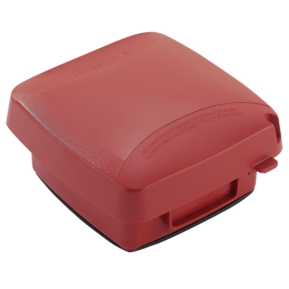 """Extra-Duty Plastic In-Use Weatherproof Cover, Double-Gang, Vrt, 2.75"""" Red redirect to product page"""
