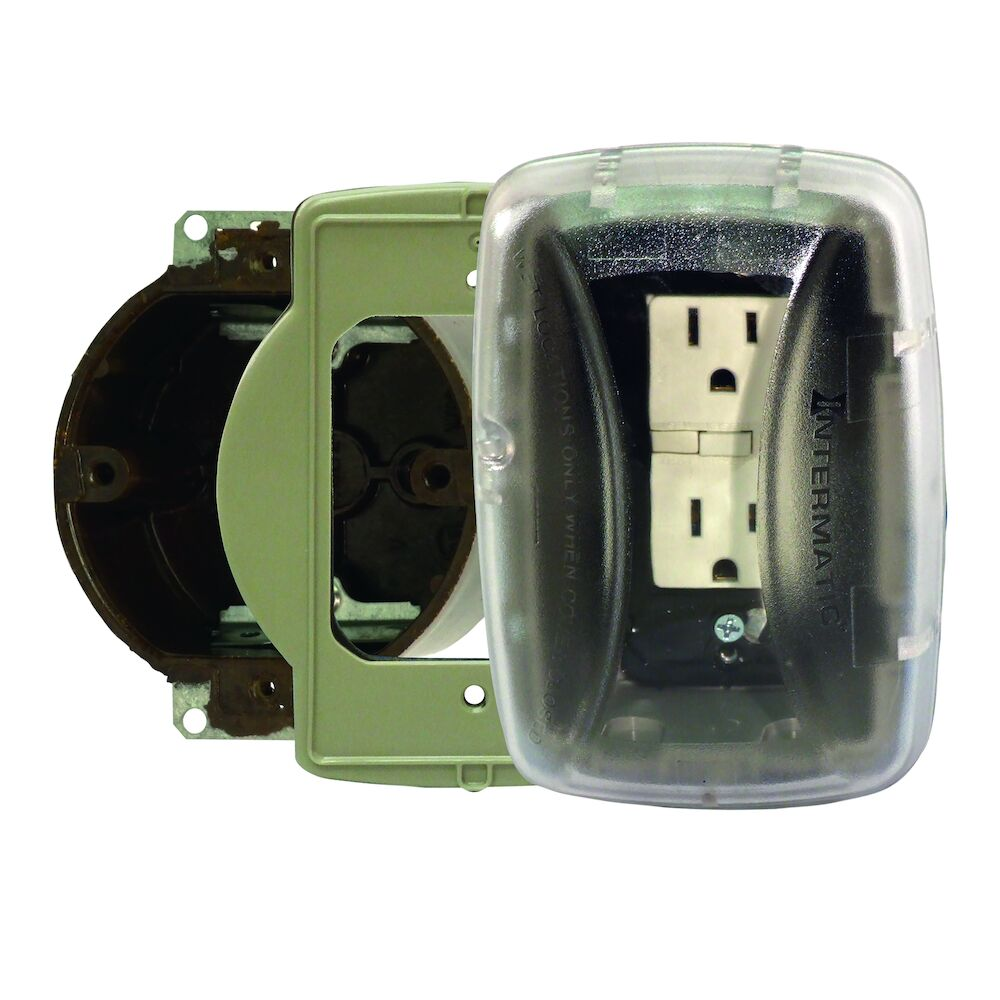 """Extra-Duty Plastic In-Use Weatherproof Cover, Single-Gang, Vrt/Hrz, 2.75"""" Clear, 3/0 Adapter Plate redirect to product page"""