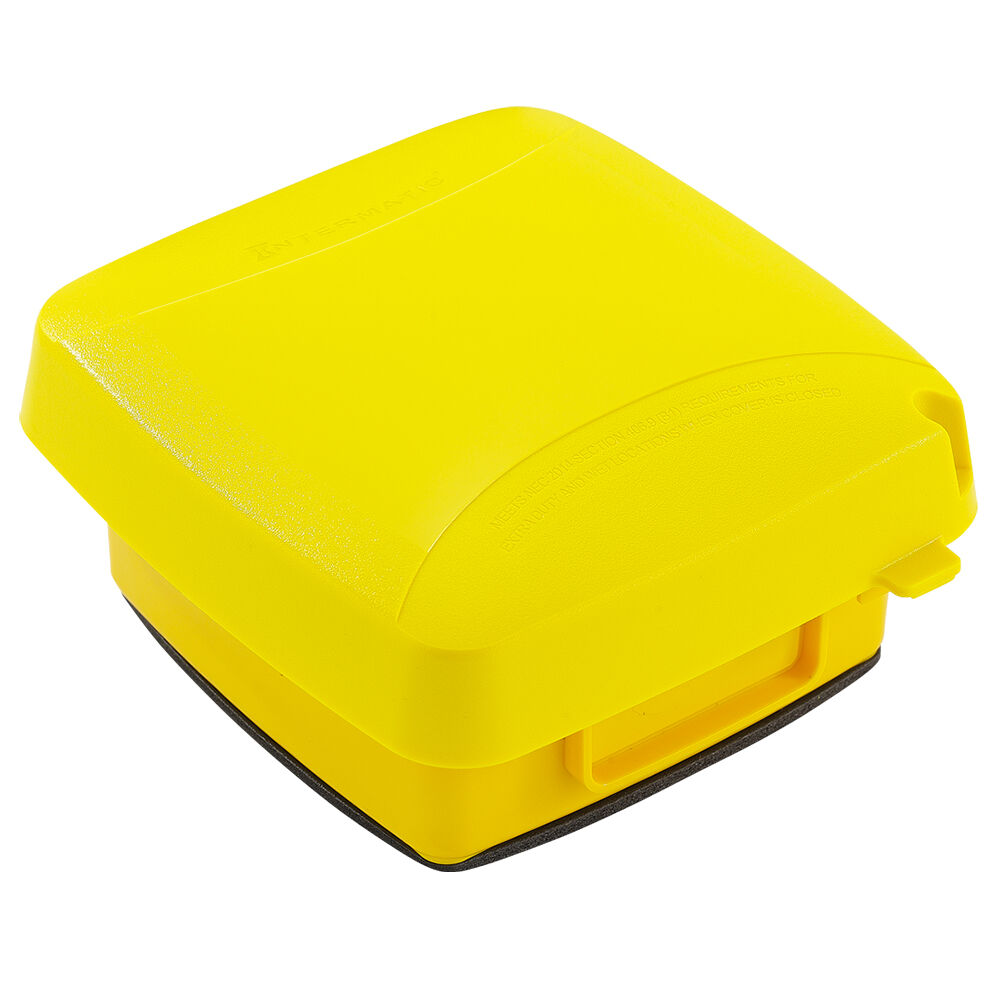 """Extra-Duty Plastic In-Use Weatherproof Cover, Double-Gang, Vrt, 2.75"""" Yellow redirect to product page"""