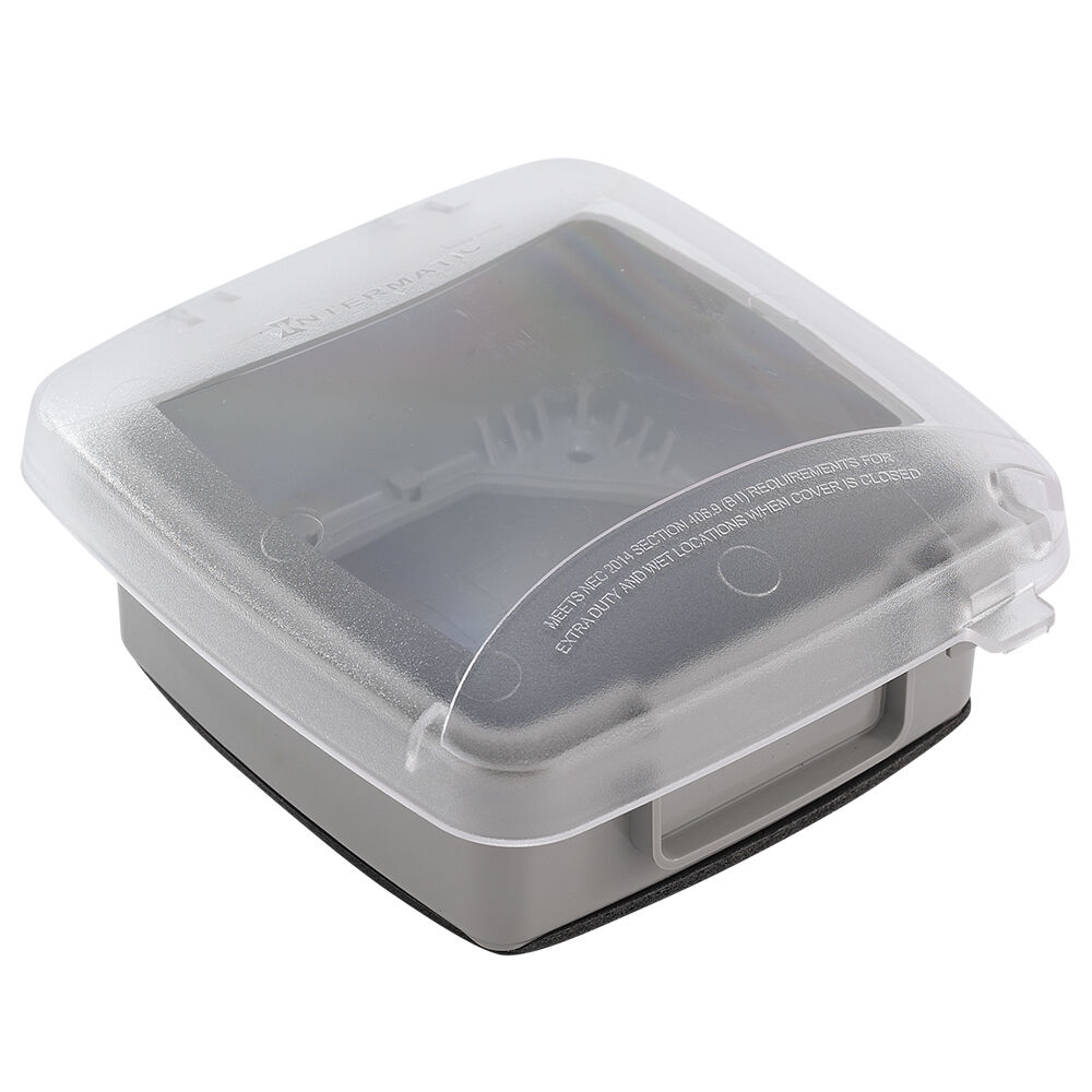 """Extra-Duty Plastic In-Use Weatherproof Cover, Double-Gang, Vrt, 2.25"""" Clear redirect to product page"""