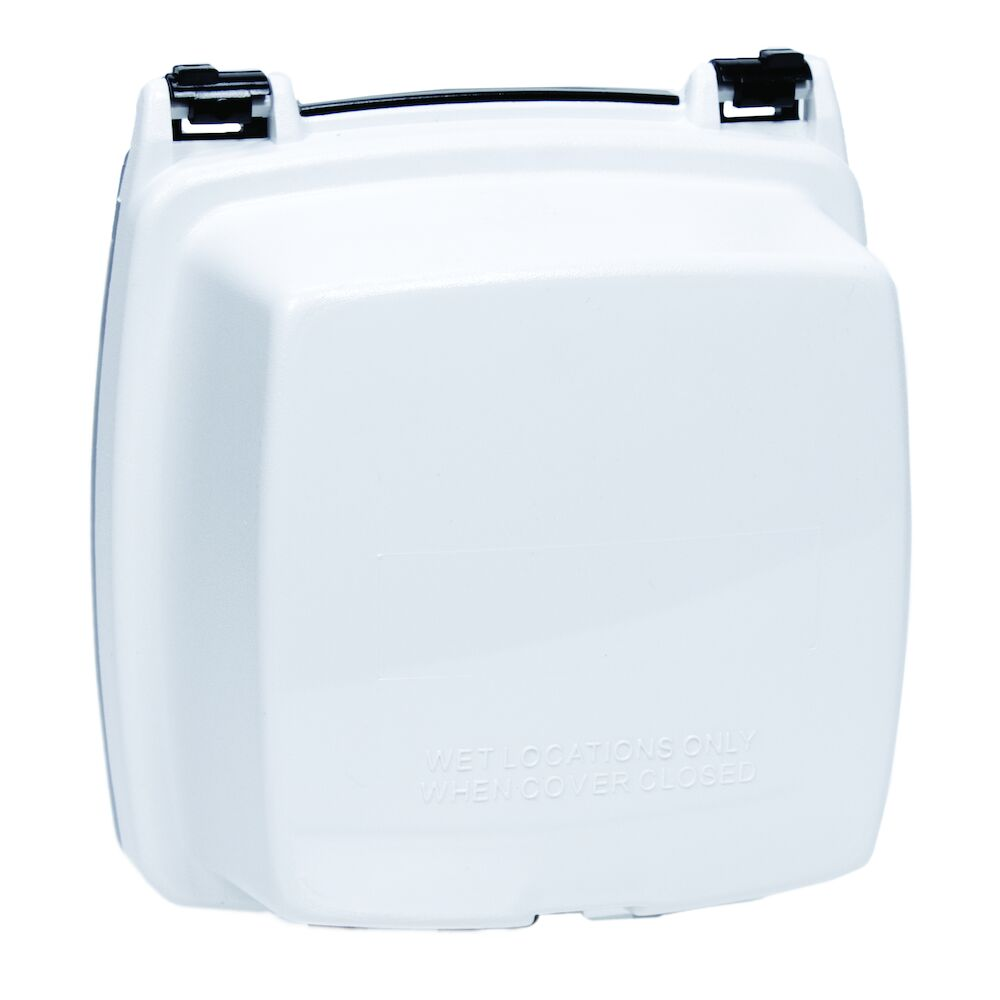 """Plastic In-Use Weatherproof Cover, Double-Gang, Vrt, 2.25"""" White redirect to product page"""