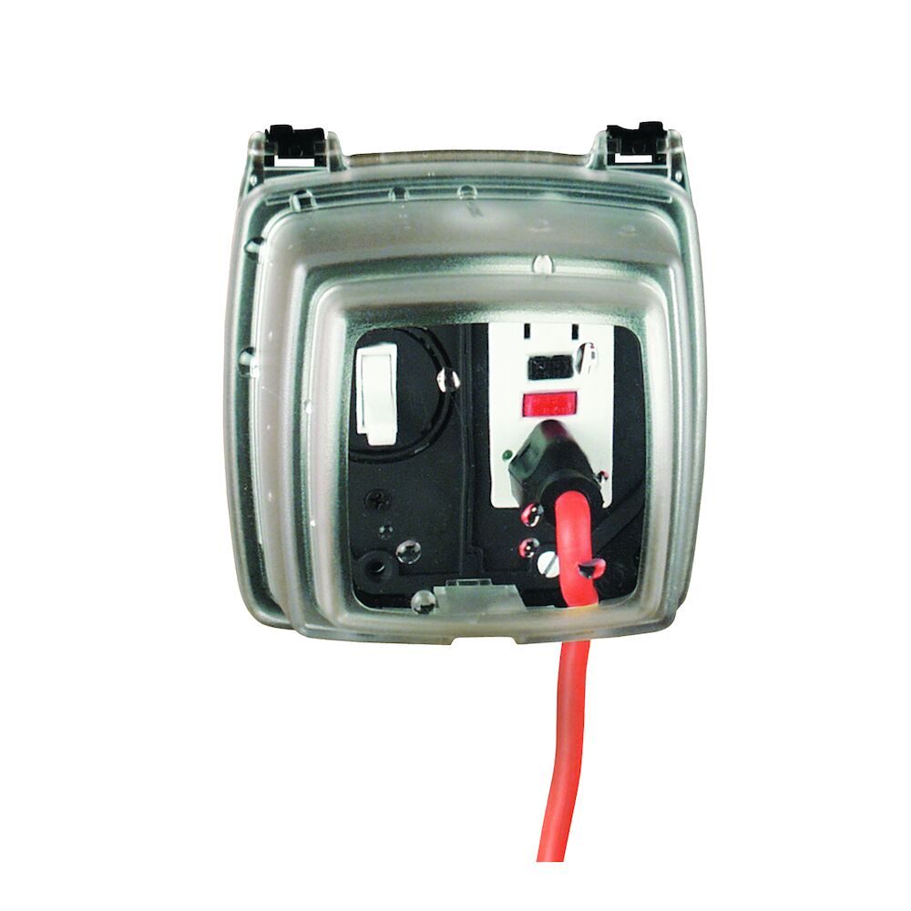 """Plastic In-Use Weatherproof Cover, Double-Gang, Vrt, 3.125"""" Clear redirect to product page"""