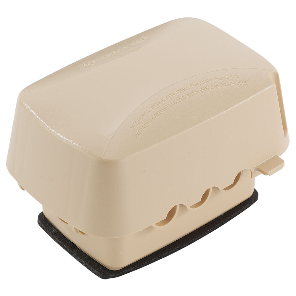 """Extra-Duty Plastic In-Use Weatherproof Cover, Single-Gang, Vrt/Hrz, 3.625"""" Beige redirect to product page"""