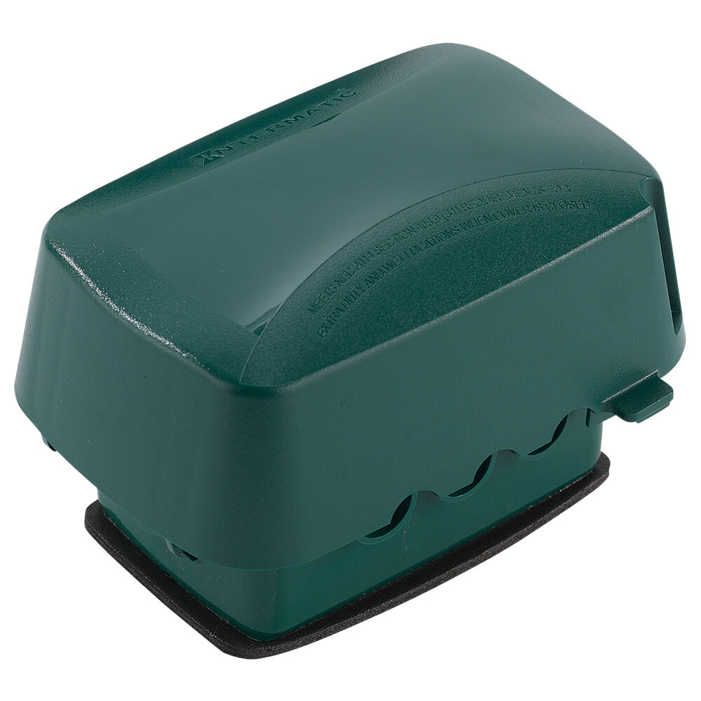 """Extra-Duty Plastic In-Use Weatherproof Cover, Single-Gang, Vrt/Hrz, 3.625"""" Green redirect to product page"""
