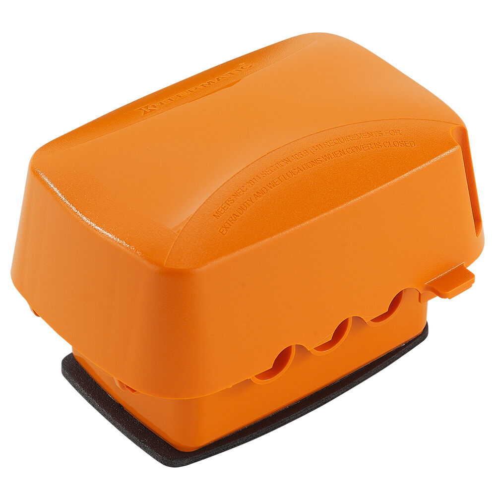 """OBSOLETE Extra-Duty Plastic In-Use Weatherproof Cover, Single-Gang, Vrt/Hrz, 3.625"""" Orange redirect to product page"""