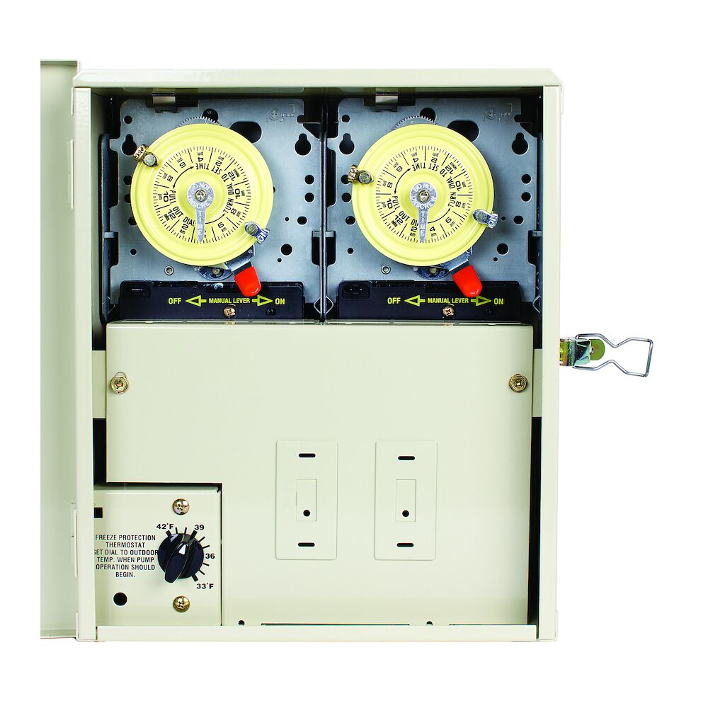 Freeze Protection Control Center with 2 Timers and Thermostat for 240V Cleaner Applications, Type 3R Metal Enclosure redirect to product page