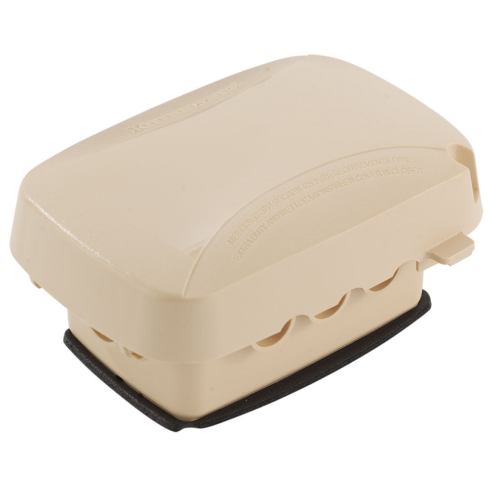 """Extra-Duty Plastic In-Use Weatherproof Cover, Single-Gang, Vrt/Hrz, 2.75"""" Beige redirect to product page"""