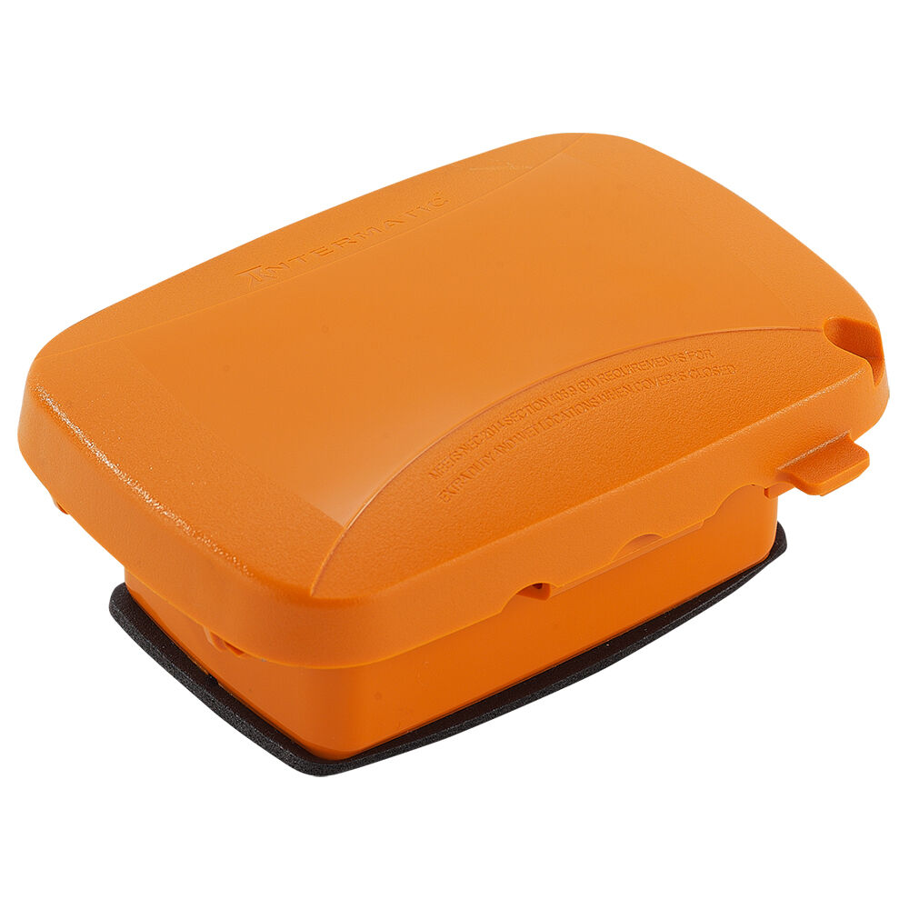 """Extra-Duty Plastic In-Use Weatherproof Cover, Single-Gang, Vrt/Hrz, 2.25"""" Orange redirect to product page"""