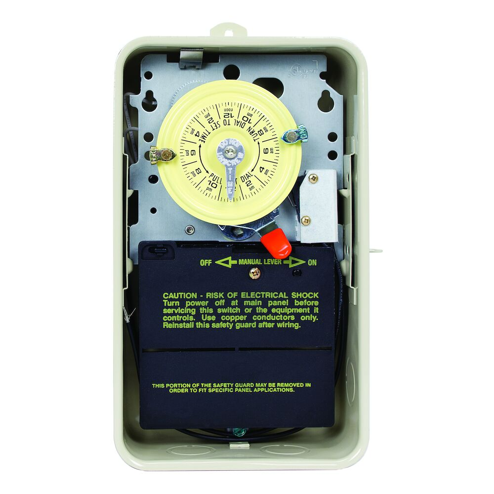 24-Hour 208-277V Mechanical Time Switch, DPST, Pool Heater Protection, Type 3R Metal Enclosure redirect to product page