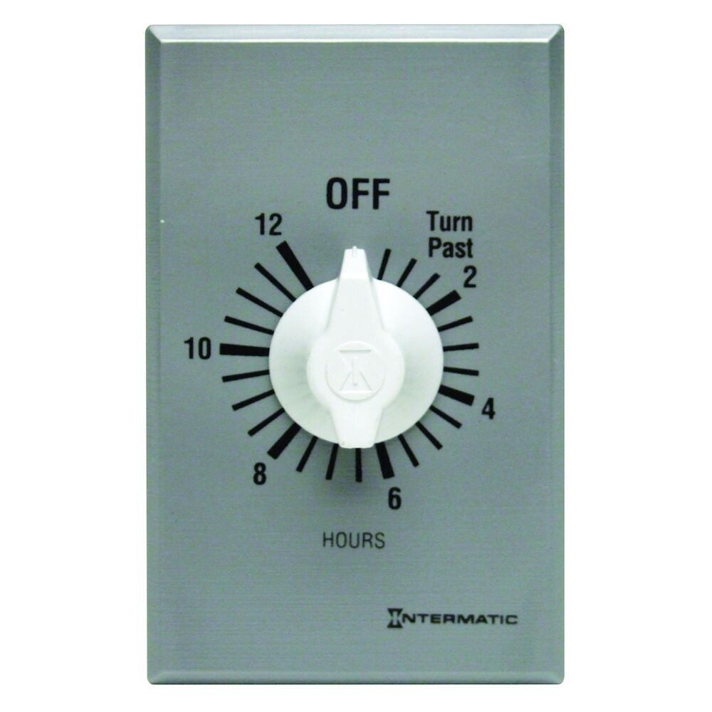 Spring Wound Countdown Timer, Commercial, 125-277 VAC, 50/60 Hz, SPST, 12 Hour Max, Without Hold, Silver redirect to product page