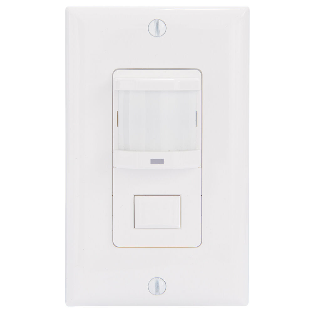 Residential In-Wall Push Button PIR Occupancy Sensor, No Neutral Required, White redirect to product page