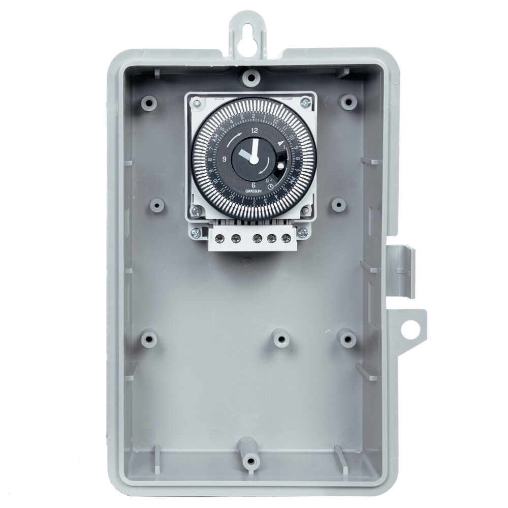 24-Hour 208/240V Electromechanical Timer, 15 Minute Intervals, 21A, SPDT, Type 3R Outdoor Plastic Enclosure redirect to product page