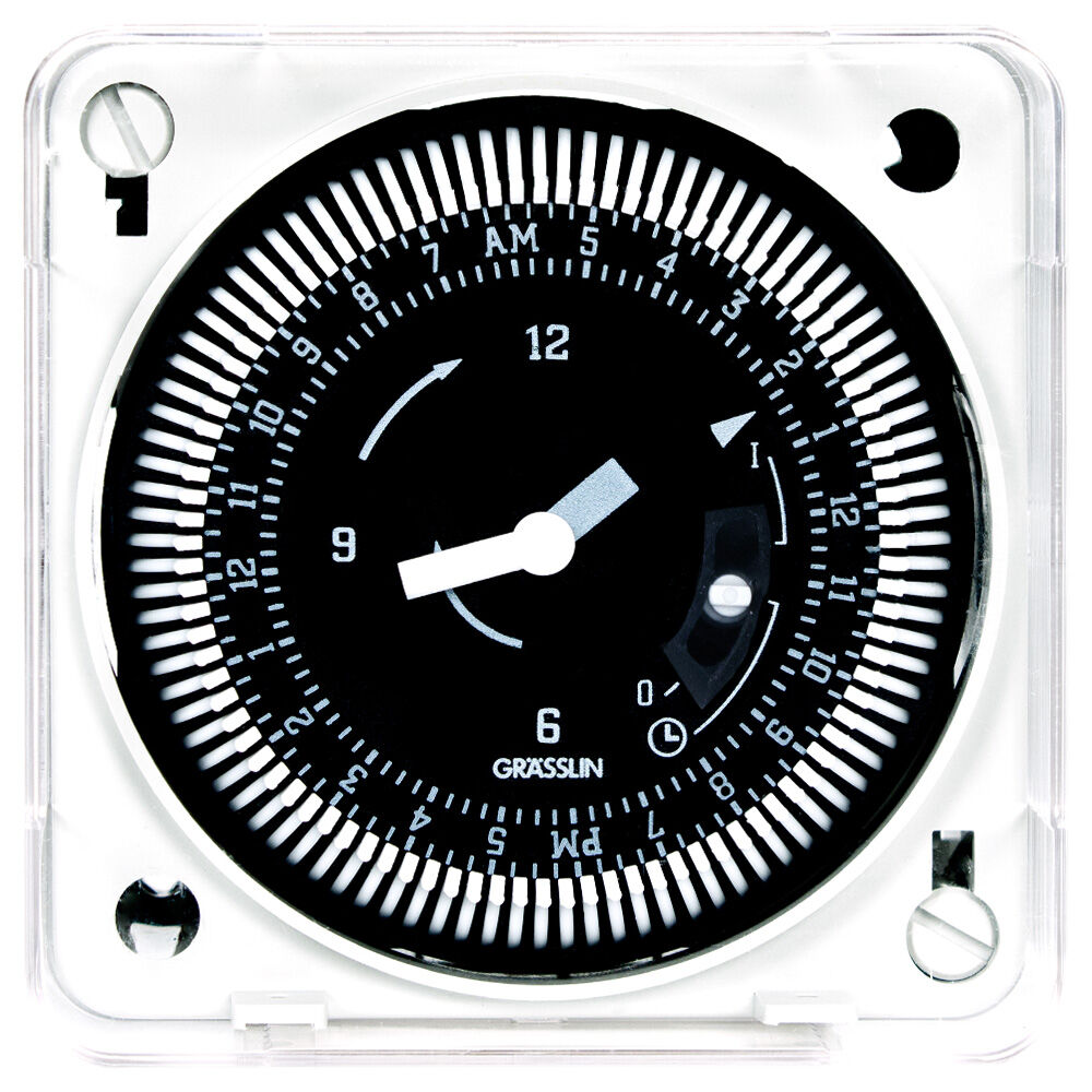 24-Hour 12/24V Electromechanical Flush Mount Timer Module with Battery Backup and Manual Override, 15 Minute Intervals, 21A, SPDT redirect to product page