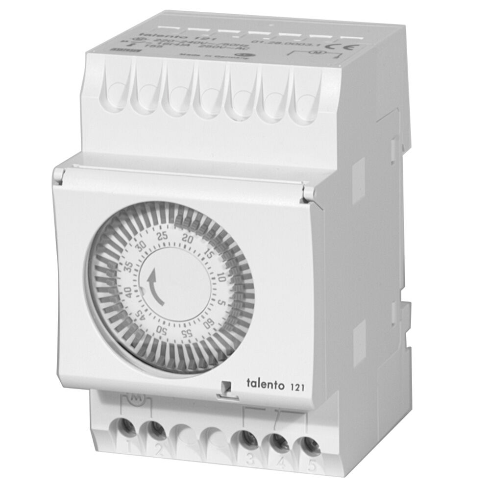 1-Hour 208/240V Repeat Cycle Electromechanical Surface/DIN Rail Mount Timer, 1.25 Minute Intervals, 16A, SPDT redirect to product page