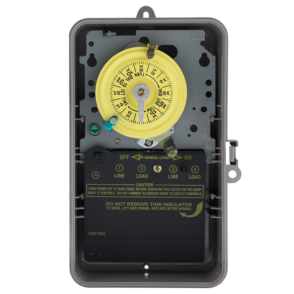 24-Hour Mechanical Time Switch, 208-277 VAC, 60Hz, SPST, Indoor/Outdoor Plastic Enclosure, 1 Hour Interval redirect to product page
