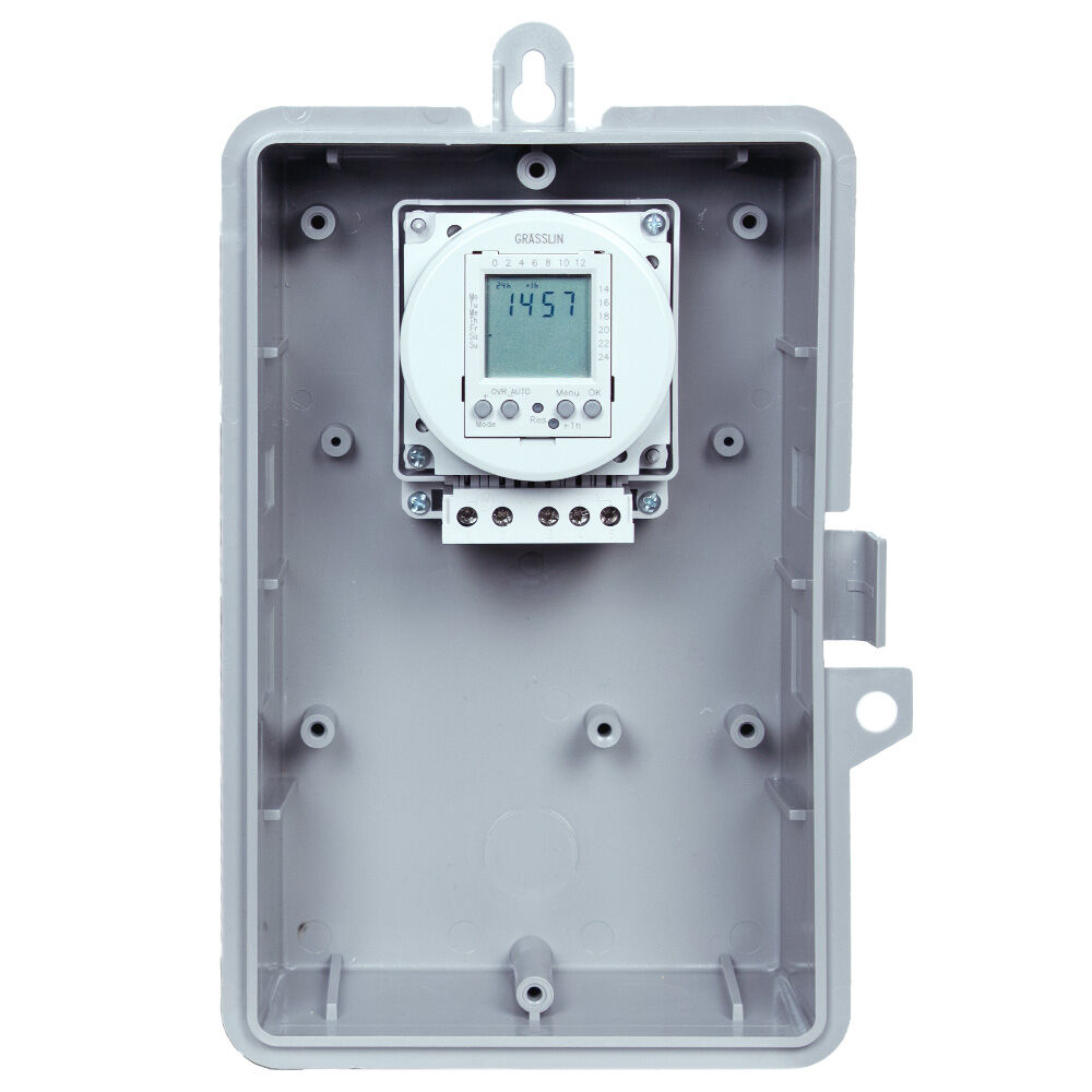 24-Hour or 7-Day 24V Electronic Time Control, 16A, 20 Setpoint Programs, SPDT, Type 1 Indoor Plastic Enclosure redirect to product page