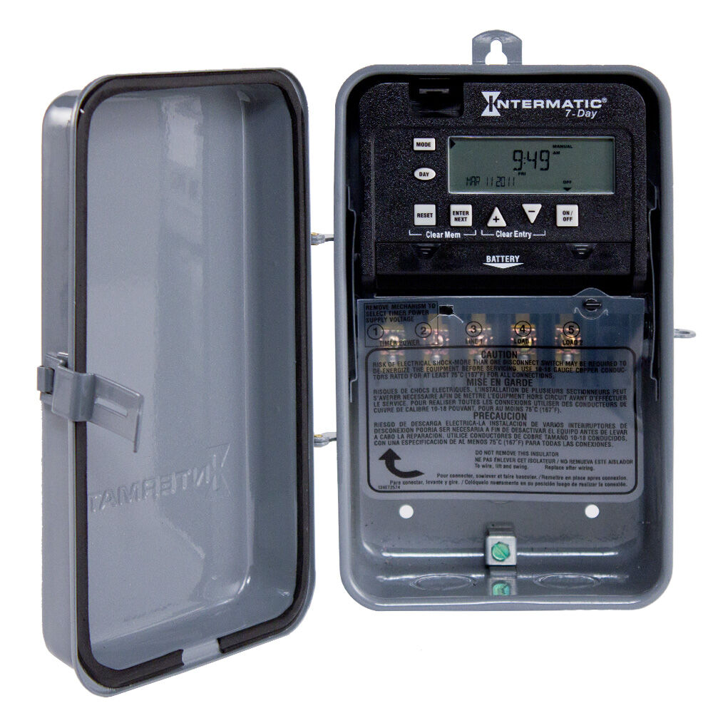 7-Day 1-Circuit Electronic Control, 120-277 VAC, 60 Hz, SPDT, Outdoor Metal Enclosure redirect to product page