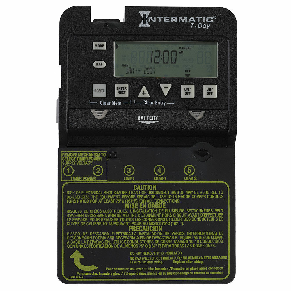 7-Day 2-Circuit Electronic Control, Mechanism Only, 120-277 VAC, 60 Hz, 2-SPST redirect to product page