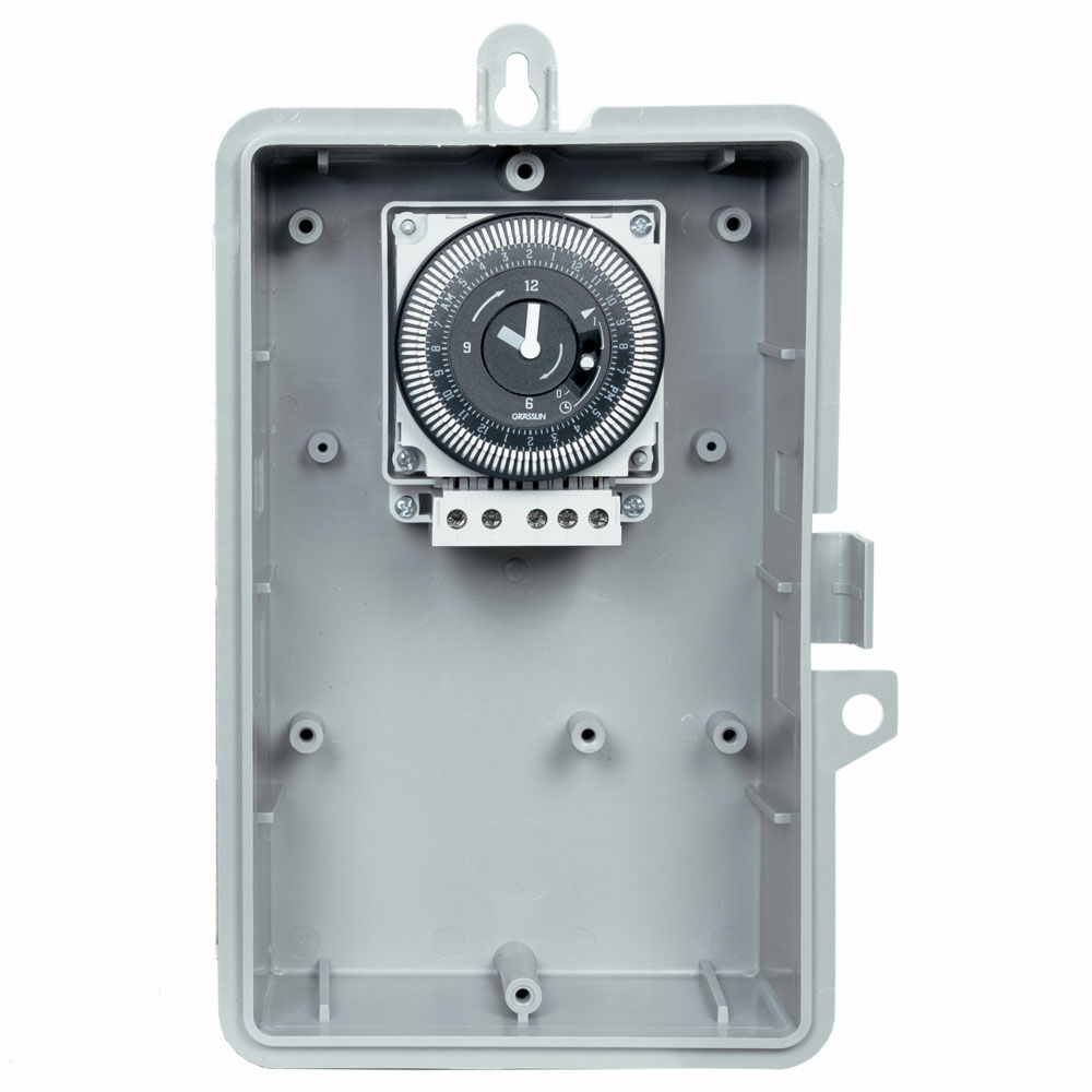 1-Hour 120V Repeat Cycle Electromechanical Timer, 1.25 Minute Intervals, 16A, SPDT, Type 3R Outdoor Plastic Enclosure redirect to product page