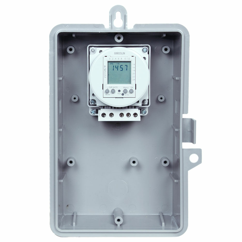 24-Hour or 7-Day 120V Electronic Time Control, 16A, 20 Setpoint Programs, SPDT, Type 3R Outdoor Plastic Enclosure redirect to product page
