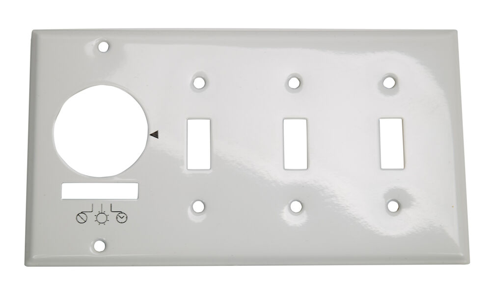 Wall Plate for KM2ST-4G, 4 Gang (Timer and 3 Toggle Switches), White redirect to product page