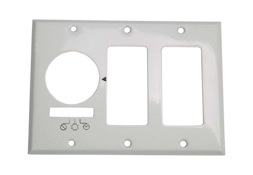 Wall Plate for KM2ST-3D, 3 Gang (Timer and 2 Decorator Switches), White redirect to product page